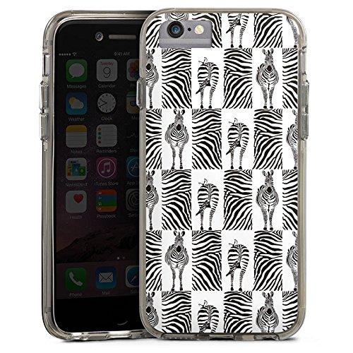Apple iPhone X Bumper Hülle Bumper Case Glitzer Hülle Zebra Animal Print Pattern Bumper Case transparent grau