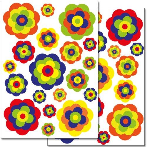 Pegatinas para la pared Wandkings «Flores retro» - Juego de adhesivos de 38 unidades en 2 hojas DIN A4