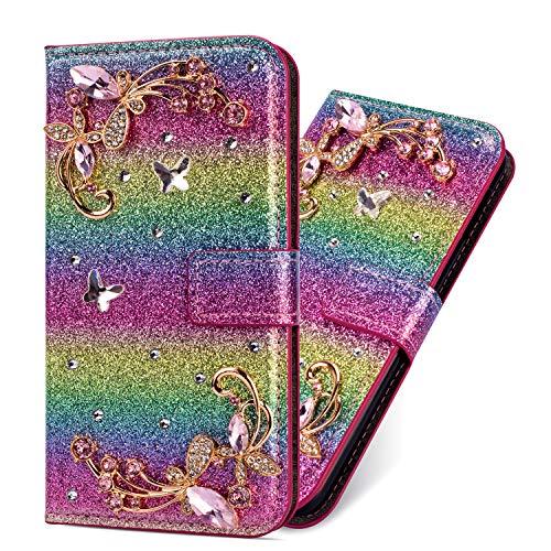 Flip Ledertasche für iPhone SE iPhone 5S iPhone 5, Diamond Magnet Sparkle Billig Glitter Glitzer Musterg Soft Slim Retro Bookstyle Stand Funktion Karteneinschub Wallet Hülle Schutzhülle (Billig Haustiere Für Kinder)
