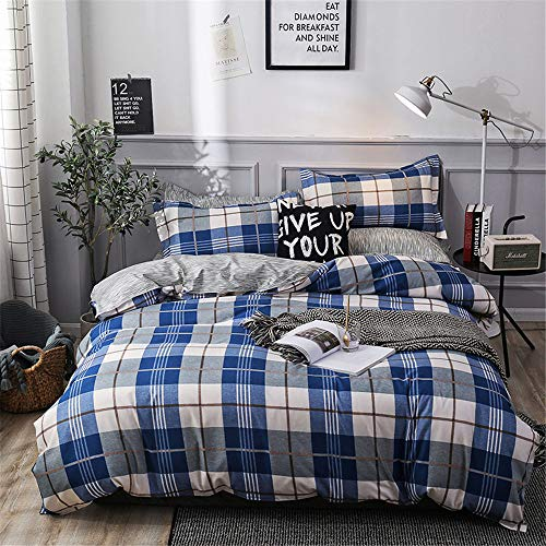 YUNSW Striped Plaid Bettbezug Reißverschluss Baumwollgewebe Bettbezug Erwachsene Kinder Weiche Tröster Fall Twin Voll Königin König B 220x230 cm - König Set-blau-gold Tröster