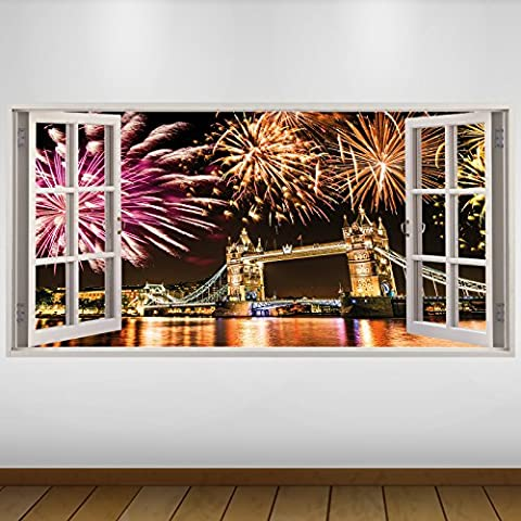 EXTRA LARGE Feux d'artifice London Gold Tower Bridge City Vinyle 3D Sticker Autocollant Affiche Poster -140cm x 70cm (ref.s1970)