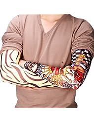 Cdet 6PCS Style de tatouage Manche Manchette Bras Protection UV Respirant Polyester Sleeve 45x11,5cm