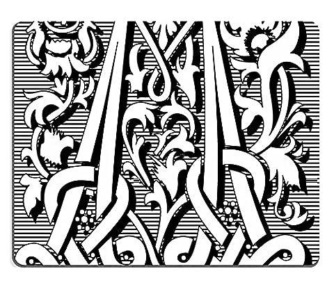 Liili Mauspad Naturkautschuk Mousepad Englisch Alphabet Buchstabe M mit Blumen