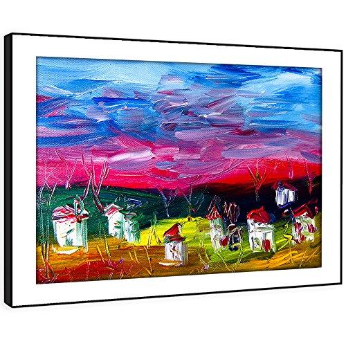 Foto-impressionismus (BFAB680E gerahmte Druckwandkunst - Impressionismus texturierten aussehen Moderne Abstrakte Landschaft Wohnzimmer Schlafzimmer Stück Wohnkultur Leicht Hang Guide (86x61cm))