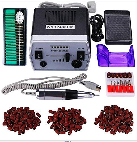 30000RPM Paquete de máquina de pulido de uñas eléctrica profesional de bajo ruido y baja vibración Manicura Pedicura + 30 aguja de pulido +300 bandas de lijado