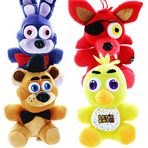 Five Nights At Freddys - Set of 4 Chica, Bonnie, Foxy, Freddy Plush - 16cm 6.5""