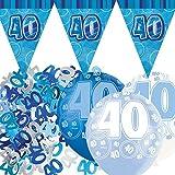 Unique bpwfa-4067Glitz 40th banderines de cumpleaños Kit de adornos para fiesta, diseño de círculos, color azul