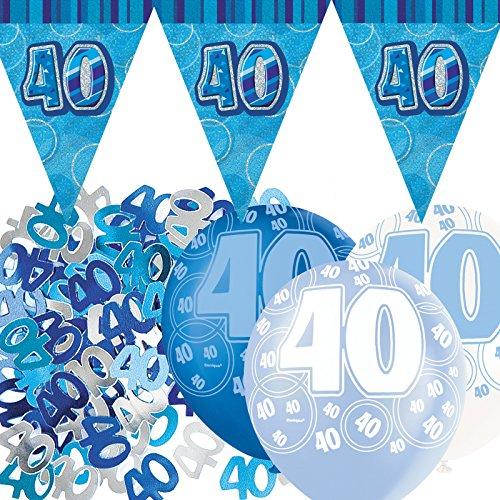 Unique Einzigartige bpwfa-4067Set zum 40. Geburtstag Flagge Banner Party Deko-Set, Blau -