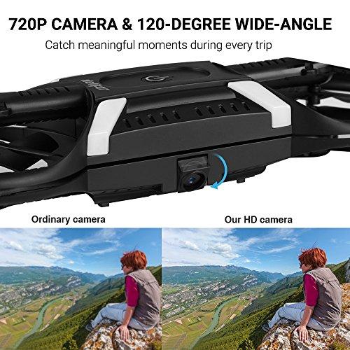 HELIFAR Drone con cámara HD App ,  H816 Mini Drone con cámara de 2MP 720P Live Video 120º WiFi FPV,  Gran Angular Plegable,  Modo Sin Cabeza, Retorno a Casa,  2 Baterías(Control Remoto por Gravedad)