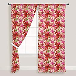 ArtzFolio Dots And Leaves - Portrait Shape 4feet x 10feet; SET OF 2 PCS - CURTAIN for ROOM & WINDOW of PREMIUM SATIN Fabric: Digital Printed Wall Curtain: Home Dcor for Living Room, Dining Room, Bedroom, Kids Room, Dining Room, Offices, Meeting Rooms : Floral : Digital Art