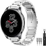 Diruite för Oneplus Watch armband klockarmband, 22 mm galvaniserat rostfritt stål metall med dubbelt vikbart spänne för Onepl