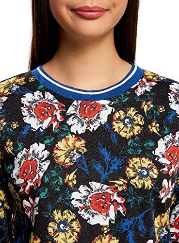 oodji Collection Damen Bedrucktes Sweatshirt mit Kontrastbesatz Mehrfarbig (2912F)