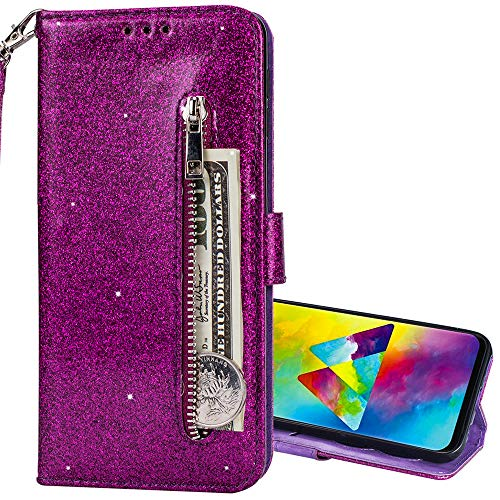 Nadoli Glitzer Handyhülle für Galaxy A70,Reißverschluss Kartentaschen Entwurf Hell Glänzen Magnetverschluss Flip Bling Schutzhülle Etui im Brieftasche-Stil für Samsung Galaxy A70
