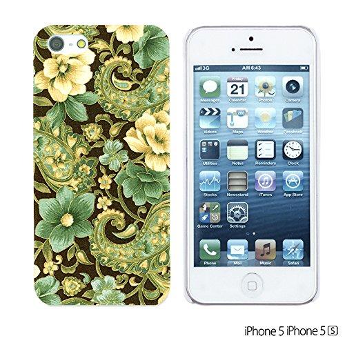 OBiDi - Flower Pattern Hardback Case / Housse pour Apple iPhone SE / Apple iPhone 5S / 5 - Colorful Floral Art Paint Elegant Gold Paisley