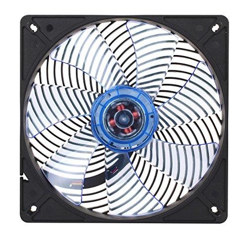 SilverStone SST-AP141-UV - Air Penetrator geräuscharmer 140 mm Hochleistungs-Gehäuselüfter mit einzigartiger Luftstrom-Kanalisierung, geringem Energieverbrauch und blau leuchtenden UV-Lüfterblättern, schwarz