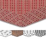 DecoKing Premium 96642 140x200 cm Spannbettlaken Steg 30 cm Rot Braun Beige Cappuccino Geometrisches Muster Spannbetttuch Microfaser Bettwäschegarnituren Hypnosis Collection Triangles 2