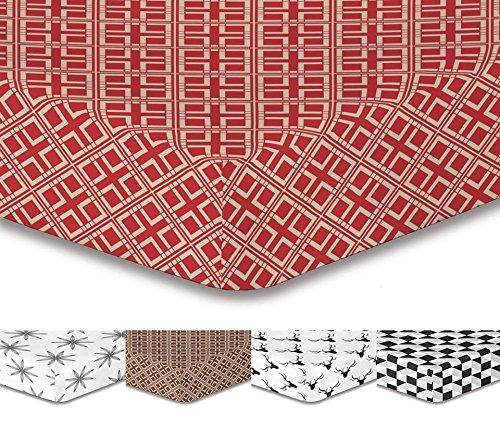DecoKing Premium 96987 220x240 cm Spannbettlaken Steg 30 cm Rot Braun Beige Cappuccino Geometrisches Muster Spannbetttuch Microfaser Bettwäschegarnituren Hypnosis Collection Triangles 2