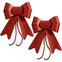WeRChristmas Christmas Decoration Glitter Bows - 15 x 14 x 14 cm, Red, Set of 2