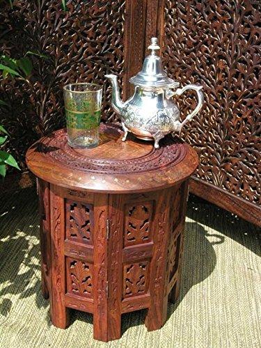 Stylla londra tiny intarsiato indiano sheesham jali tavolino, legno, marrone, 30x 30x 30cm