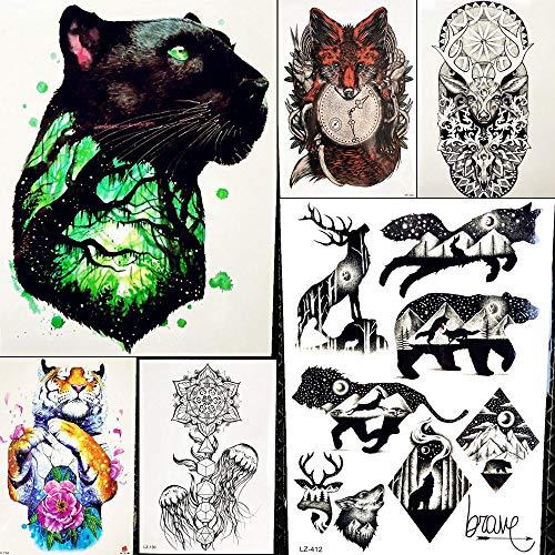6 Blätter Blitz Gepard Frauen Sexy Arm TemporäRe TäTowierung Aufkleber Schwarz Jeder Tal MäNner KnöChel Handgelenk Tiere GefäLschte Zweig Kunst