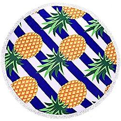 FitLit Toalla de playa redonda - patrón de piña, 59 pulgadas, grueso y suave, manta de picnic Hippie, toalla de baño, estera de yoga