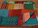 Tribal Asian Textiles Bettüberwurf, Kantha-Wendedecke, indischer Stil, handgefertigt, aus Patola, Seide, Vintage-Stil, Mehrfarbig, 228,6 x 274 cm