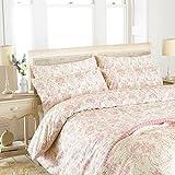 Riva Paoletti Etoille Super King Bettbezug-Set Vintage Floral Toile de Jouy Pattern-2X Kissenbezügen included-200Gewinde count-100% 260x 220cm (259,1x 221cm Zoll), Baumwolle, pink