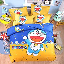 Set Amarillo Doraemon Juego de Cama Infantil Reversible 3 Piezas 1x Funda Nórdica para Edredón 150x210cm 1xSábana Bajera 160x230cm 1x Funda de Almohada 100% Poliéster Color Amarillo Doraemon Dibujos Animados- 3 Pcs Duvet Cover Sets Soft Polyester Bed Linen Bed Sheet Single Reversible