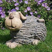Best Value Here Dog Garden Ornament Puppy Patio Decor Polyresin Brown Sculpture Statue Outdoor Leaf Branch Detailing