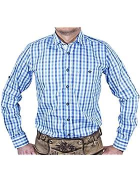 Maddox Slim Fit Trachtenhemd Ludwig - Blau Weiß - Kariertes Herren Oberhemd