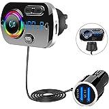 SONRU Nuevo Transmisor FM Bluetooth 5.0, Bluetooth para Coche Manos Libres para Vehículos, QC3.0 USB Cargador de Coche, Apoyo