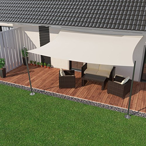 IBIZSAIL Premium Sonnensegel - Viereck (rechteckig) - 400 x 200 cm - Weiss - Wasserabweisend (inkl. Spannseilen)