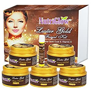 NutriGlow Luster Gold Facial Kit 250g With Luster Gold Dust & Vitamin E