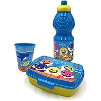 Set pour le goûter en plastique, bouteille de 400 ml, 1 tasse, 1 boîte (Baby Shark)