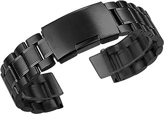 ZEIGER Uhrenarmbänder Edelstahl Silber Schwarz Uhrarmband mit Faltschließe Metall Uhr Armband 18mm 20mm 22mm Uhren Band