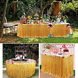 YQing Gonna Tavolo Hawaiana Tovaglia da Tavolo 9.6ft Hawaiian Luau Hibiscus Gonna da Tavolo in Erba con 26 Fiori di Seta Finto per Barbecue Beach Tiki Decorazioni per Feste