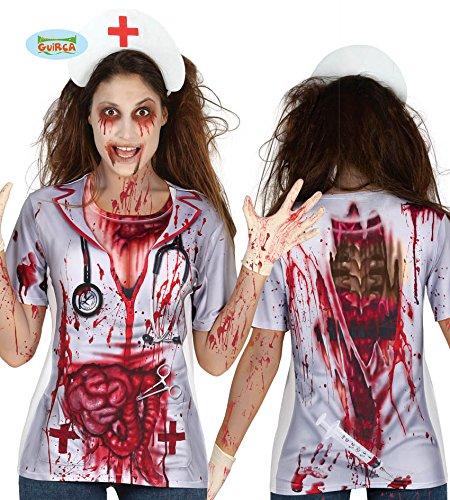 Imagen de camiseta disfraz de enfermera zombie