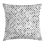 KLYDH Grey Throw Pillow Cushion Cover, Abstract Zig Zag Hexagon Figures Vivid and Dark Color Hue Tone Intensity Blush Art Print, Decorative Square Accent Pillow Case, 18 X 18 Inches, White