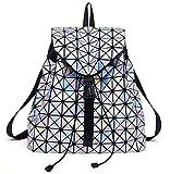 Luminous Rucksack Geometrische Diamantgitter Tasche Leder Nachtleuchtende Rucksack Für Teenager Mädchen Große Reisetaschen T020 Lattice
