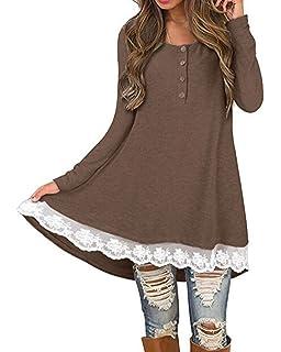 41a708d2548c1b Auxo Damen Kurzarm/Langarm Shirt mit Spitze T-Shirt Rundhals Oberteil  Asymmetrisch Tops Longshirt