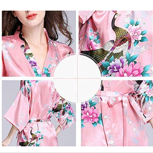Milya Frauen Kimono Schlafanzug Satin Morgenmantel Damen Kurz Nachtwäsche Pyjama Bademantel mit V-Ausschnitt Pfingstrose?Pfau-Totem Coral Pink