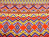 Viskosestoff, grafisches Muster, Ethnostyle, Burda, Blau,
