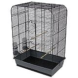 Duvo+ 493/104 Cage à Oiseau Gris/Noir avec Accessoire pour Oiseau
