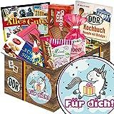 Für Dich (mit Einhorn) | DDR Suessigkeiten-Box | Geschenkset | Für Dich (mit Einhorn) | Ostpaket | Geschenk Einhorn Mädchen | mit Puffreis Schokolade, Viba, Zetti und mehr