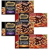 Nestlé Chocolate - Pack de 2 Chocolate Negro con Almendras (200 g) + Pack de 2 Chocolate con Frutos Secos (200 g)