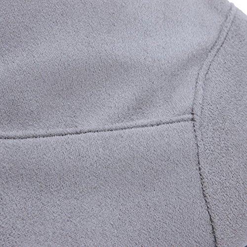 VogueZone009 Donna Alta Altezza Colore Assortito Cerniera Tacco Medio Stivali con Metallo Grigio