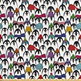 ABAKUHAUS Pinguin Stoff als Meterware, Winter-Cartoon-Tier,