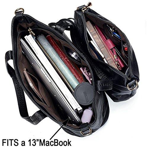 ea677168482b6 UTO Damen Handtasche Set 3 Stücke Tasche PU Leder Shopper klein  Schultertasche Geldbörse Riemen schwarz schwarz ...