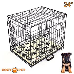 """Cozy Pet Dog Cage 24"""" Black With Tailored Vet Bedding Metal Tray Folding Puppy Crate Cat Carrier Dog Crate. (We do not ship to the Channel Islands or The Isles of Scilly.)"""