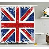 yeuss Britische Duschvorhang, abstrakte London England Flagge, Vintage, mit Schatten-Aufdruck, Stoff Badezimmer Set mit Haken Blau, Rot, Marineblau und Weiß, 60